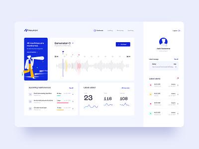 Neuron Dashboard graphic design digital dashboard blue application clean minimal flat app desktop website web uxdesign ux design ux ui design uidesign ui illustration design