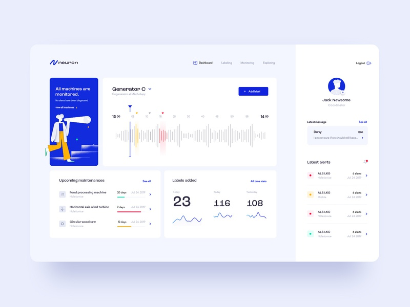 Neuron Dashboard graphic design digital dashboard blue application clean minimal flat app desktop website web uxdesign ux design ux ui design uidesign ui illustration design