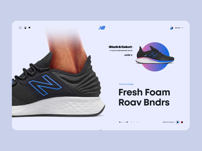 New Balance shop interaction shoes landing page graphic design digital creative concept colorful clean after effects minimal website flat animation web ux ui design