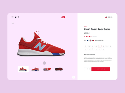 New Balance shop 2 sketch red motion landing page graphic design gif ecommerce digital color clean pink after effect minimal website flat animation web ux ui design