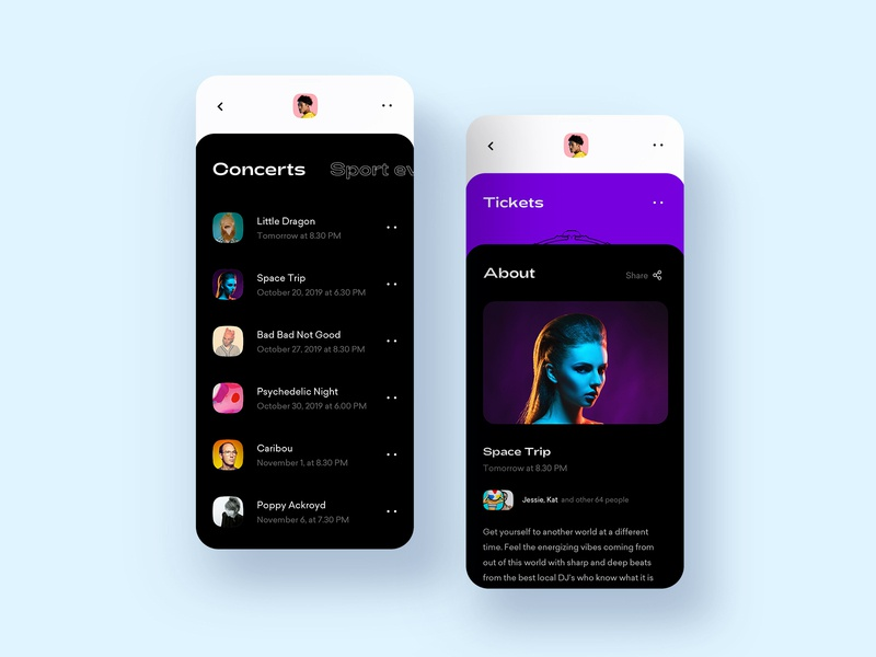 Ticket Store App mobile purple interface graphic design graphic ecommerce digital concept color clean black app 2d music ticket minimal flat ux ui design