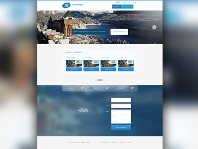 TDC - Full homepage  thediscountcard tdc hotels discount winter cold card pixel perfect webdesign landing header navigation menu button