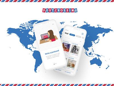 Postcrossing Mobile App Design Concept letter postcards mail post design app postcrossing