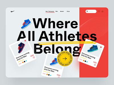 Website design for Nike latest popular trending yellow red sneaker shoe ui design ux design ui design typography landing page design header webdesign home page design website nike website nike