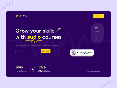 Website design for audio courses popular ux 2021 latest tranding new web design grow your skill audio course audio design typography landing page design header ui website webdesign home page design
