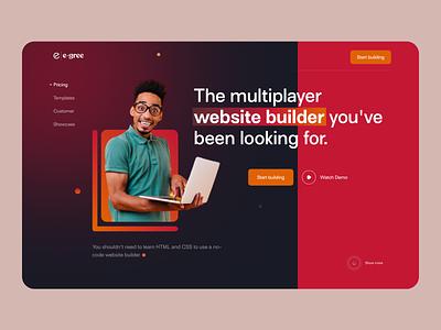 Web Builder Website red landing page multipalyer creative popular web web site web builder builder new latest ux design typography landing page design ui header website webdesign home page design