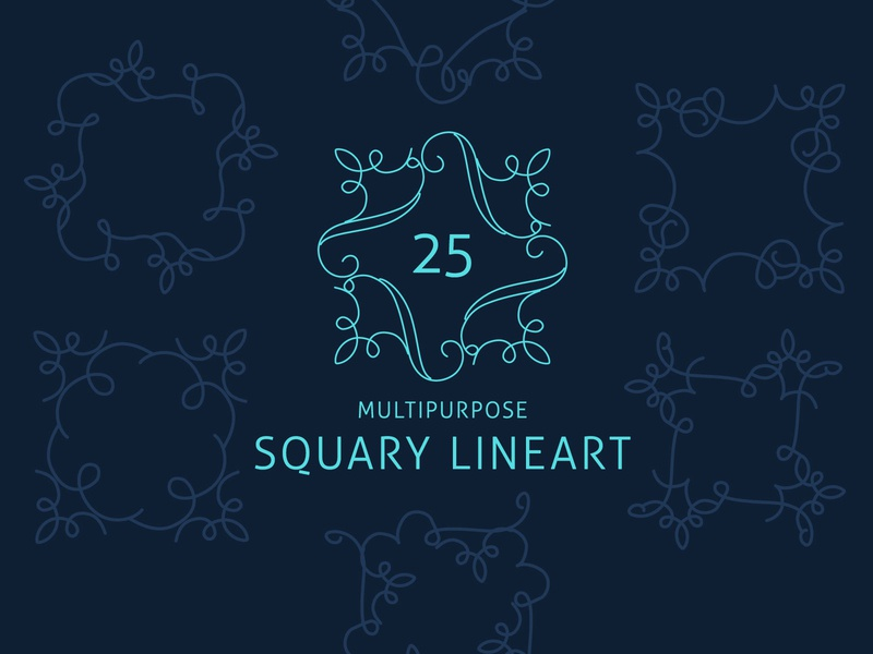 25 Squary Lineart vector squary border square border linecraft lineart frame decorative elements decorative border
