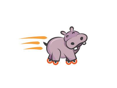 Turbo Hippo hippopotamus roller skate turbo hippo logo design logo