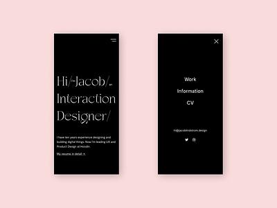 Portfolio Landing Page Mobile flat ux dark figma design branding web typography interaction design ui