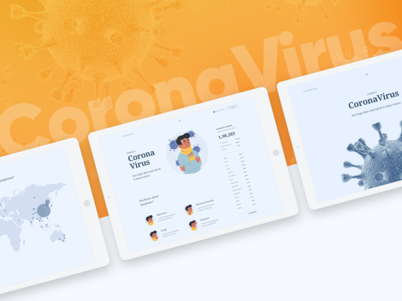 Corona Virus Landing creative illustration flat color design virus minimal uidesign ui  ux ui website app landing coronavirus corona