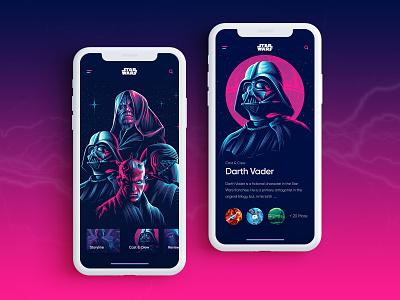 Star Wars Mobile App application app design uiux uxdesign uidesign color vector illustration flat app clean ui design minimal creative