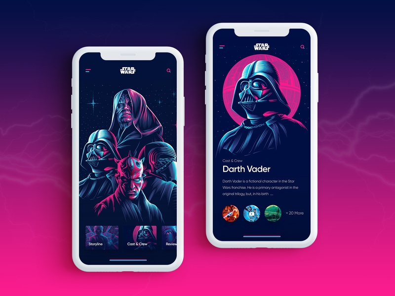 Star Wars Mobile App application app design uiux uxdesign uidesign color vector illustration flat app clean ui design minimal creative