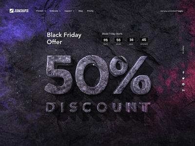 Black Friday Landing landingpage ui uidesign uiux color website minimal creative design joomshaper offer brand hero banner discount blackfriday