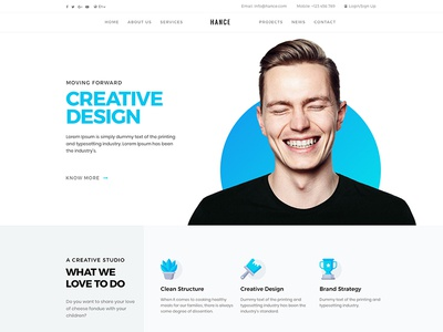 Hance template blue minimal clean website