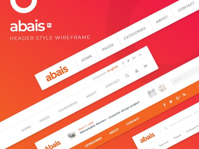Abais - Header style wireframe head hero website color wireframe ui style header