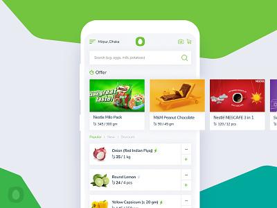 Chaldal - Grocery Shop App Redesign clean creative green clean app minimal app minimal redesign ux ui design app grocery chaldal