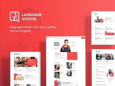 Language Institute, Club, and Coaching Joomla Template design student education club creative joomla template joomla joomshaper e learning study learn learning university collage red clean school teacher lms language