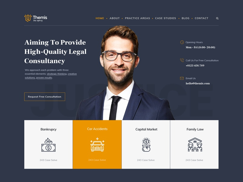 Themis - Law Firm Template landing page website ui design minimal creative corporate joomla theme template lawyer law firm firm law