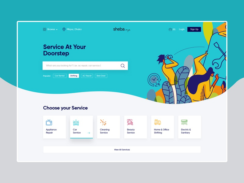 sheba.xyz Redesign Concept website flat clean design minimal creative illustraion agency website service character hero agency creative design uiux ui