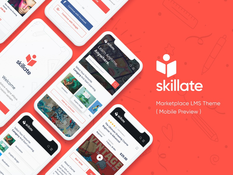 Skillate Upcoming WordPress LMS Theme marketplace institute responsive theme wordpress app design tutorlms tutor education skill red ux app lms website ui clean design minimal creative