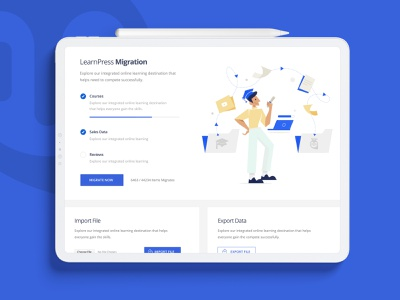 Tutor LMS – Migration Tool learning app learning education migration web themeum vector minimal app website ui design creative