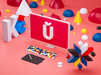 U illustration cinema4d c4d render ux ui belarus design graphic blender3d blender 3d art 3d illustration