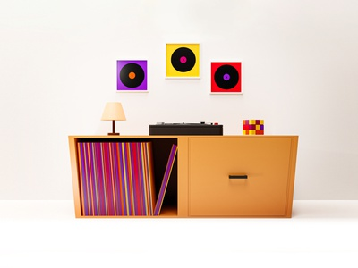 Retro Room vinyls vinyl record vinyl clean interior design render blender 3d minimalism modern 80`s room retro illustration 3d illustration cycles render minimal simple 3d art 3d
