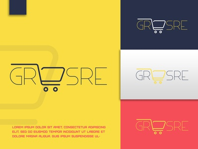 GROSRE (Logo) minimal logo business card designs design logo branding grocery logo