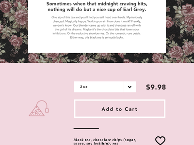 Rose Ruby Night: Tea Landing Page Concept visual design vintage ui typography texture photography sketch layers landing page tea