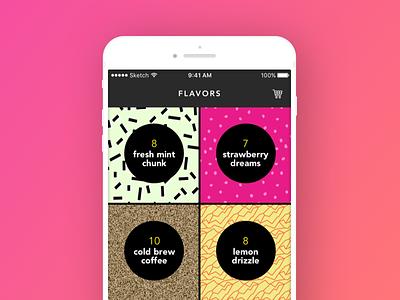 Ice Cream App Concept ice cream grid user interface ui mobile color ios pattern memphis pattern food design app