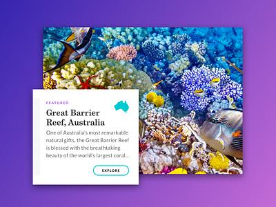 Travel Card Concept editorial clean website card design user interface ui shadow design web travel card ui app