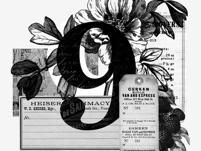 No. 9 lineart grayscale black and white layering layers texture collage floral design ui design typography vintage ui