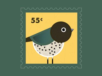 Bird Stamp bird minimalist vector illustration color vintage ui design pattern layers texture design ui