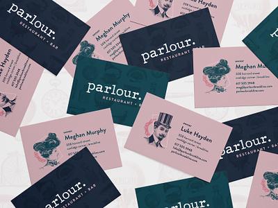Parlour Business Cards branding identity design restaurant branding restaurant logo identity wordmark wordmark logo vintage inspired vintage boston business cards business cards design