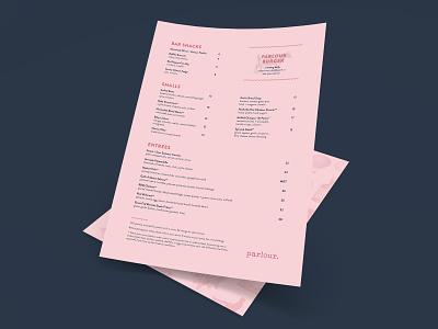 Parlour Menu minimal clean brand identity identity design restaurant menu branding restaurant menu design typogaphy design