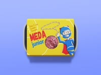 Meda Junior foodpack packaging food pack supermen costume meat childish cartoon product design