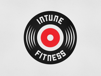 InTune Fitness Sports logo design logo concept brand logo design bold red and black record tune weights workout fitness