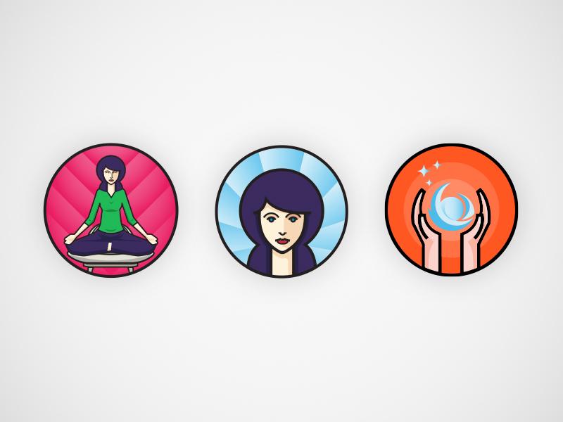 Yoga icons concept hands aura lady orange blue purple meditating energy iconography icon design yoga