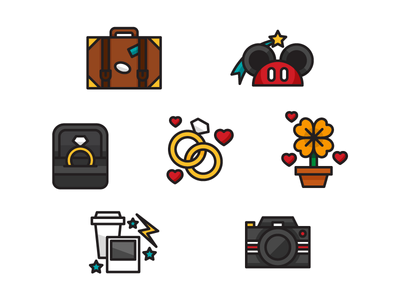 Wedding Photographer Icon Set