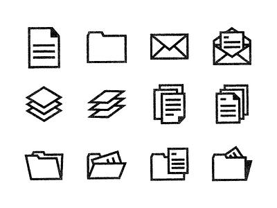 Paper Icons line art folder icon set icon design paper