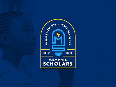 Memphis Scholars Branding logo design illustration school geometric education lightbulb icon brand identity branding agency branding