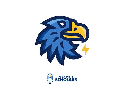 Memphis Scholars Eagle logo mark mascot design illustration scholar education school mascot eagle
