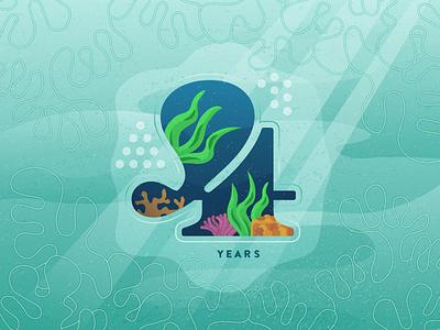 Year 4 design freelance ocean underwater type 4 anniversary illustration