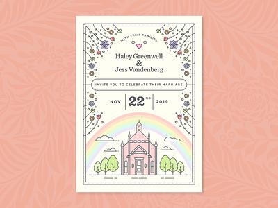 Wedding Invites design illustration gay floral flowers wedding invitation marriage invitation invite wedding