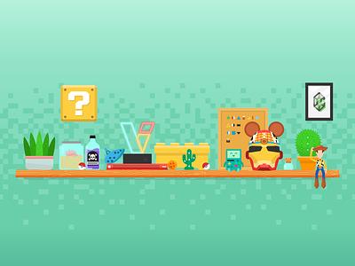 Studio Shelfie home illustration woody gaming nintendo nerd studio shelfie shelf