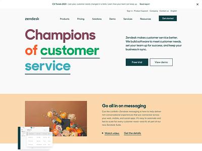 Zendesk Homepage February 2021 customer service web design branding typography graphic design