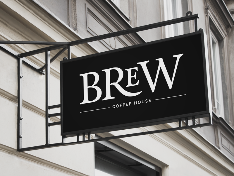 Brew Coffee House graphic design typography identity branding signage coffee