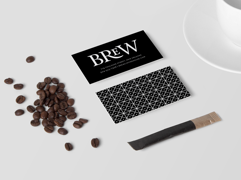 Brew Coffee House branding graphic design business card typography coffee identity mica