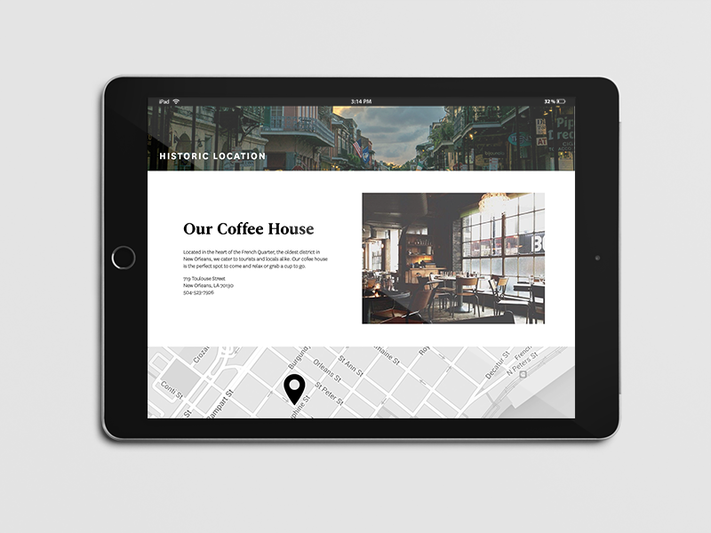 Brew Coffee House graphic design typography branding identity ipad web website ui coffee