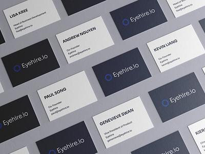 Logo concept mocked up on business card concept design product hire eye visual design startup website logo business card branding